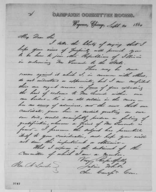 Julius White to Abraham Lincoln, Thursday, September 20, 1860  (Invites Lincoln to Chicago)