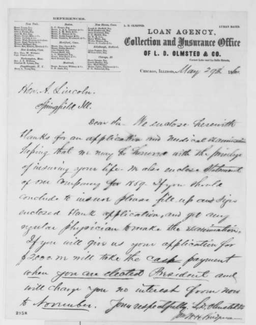 L. D. Olmstead & Co. to Abraham Lincoln, Tuesday, May 29, 1860  (Life insurance policy)