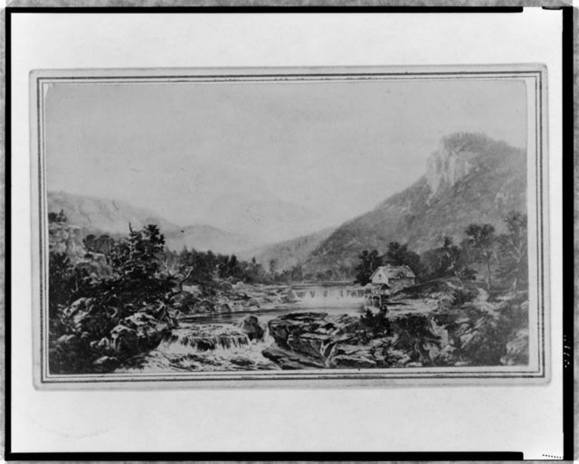 [Landscape view showing house on stream with falls in foreground]