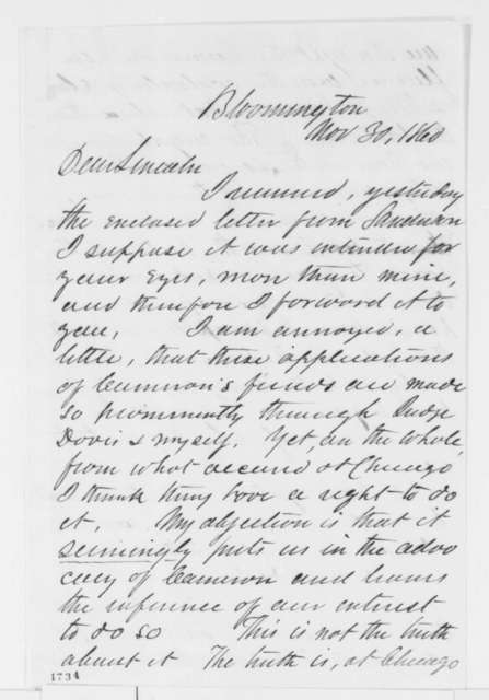 Leonard Swett to Abraham Lincoln, Friday, November 30, 1860  (Cabinet appointments)