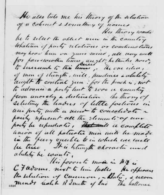 Leonard Swett to Abraham Lincoln, Monday, December 31, 1860  (Reports on conversations with Seward)