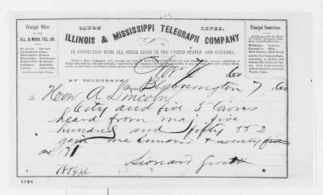Leonard Swett to Abraham Lincoln, Wednesday, November 07, 1860  (Telegram reporting election results)