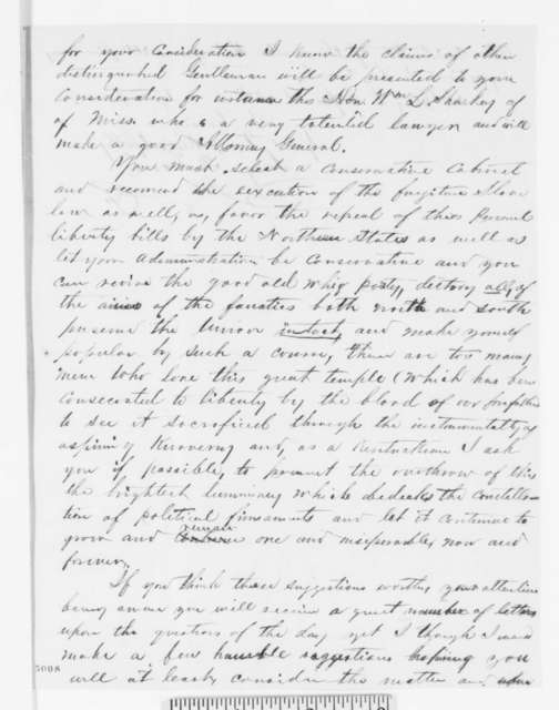 Leroy P. Cord to Abraham Lincoln, Wednesday, December 12, 1860  (Lincoln should issue a statement and appoint a conservative cabinet)