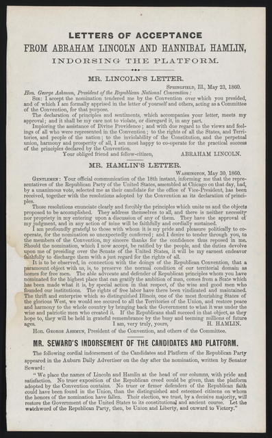 Letters of acceptance from Abraham Lincoln and Hannibal Hamlin, indorsing the platform.