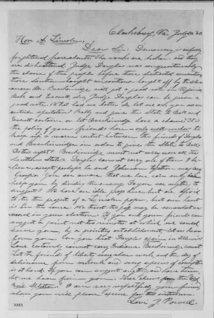 Levi J. Powell to Abraham Lincoln, Friday, July 20, 1860  (Wants to establish a newspaper in Virginia)