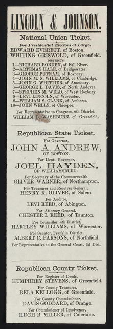 Lincoln & Johnson. National Union ticket. [Massachusetts campaign ticket]
