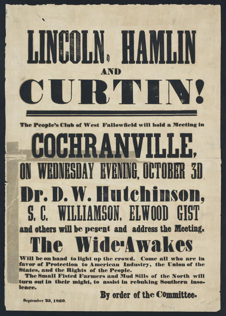 Lincoln, Hamlin and Curtin! The people's Club of West Fallowfield will hold a meeting in Cochranville.