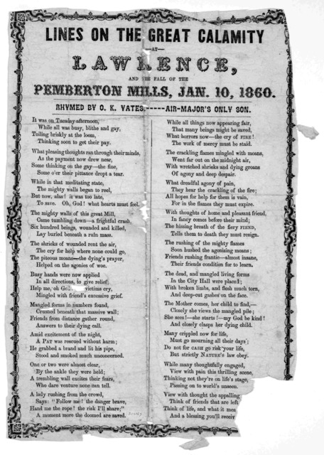 Lines on the great calamity at Lawrence, and the fall of the Pemberton Mills, Jan. 10, 1860. Rhymed by O. K. Vates,----- air- Major's only son.