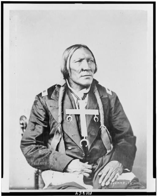 [Little Robe, Cheyenne Indian, half-length portrait, seated, facing right]