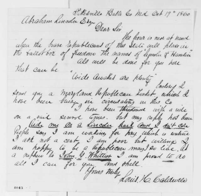 Louis H. Caldwell to Abraham Lincoln, Friday, October 19, 1860  (Campaign efforts in Maryland)