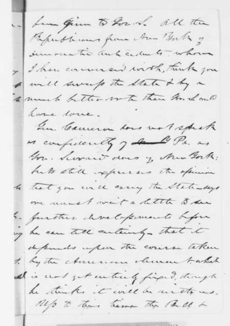 Lyman Trumbull to Abraham Lincoln, Friday, June 08, 1860  (Politics in New York and Pennsylvania)