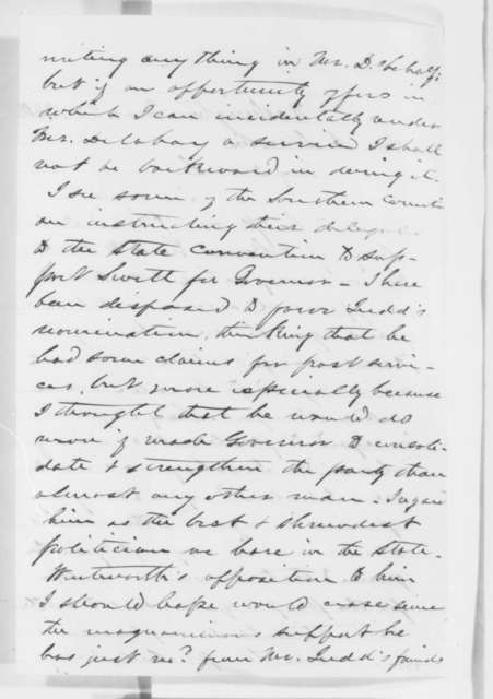 Lyman Trumbull to Abraham Lincoln, Monday, March 26, 1860  (Political speculation)