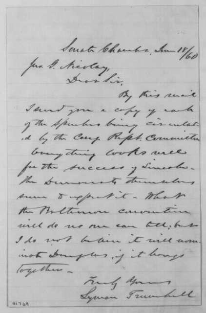 Lyman Trumbull to John G. Nicolay, Monday, June 18, 1860  (Sends speeches)