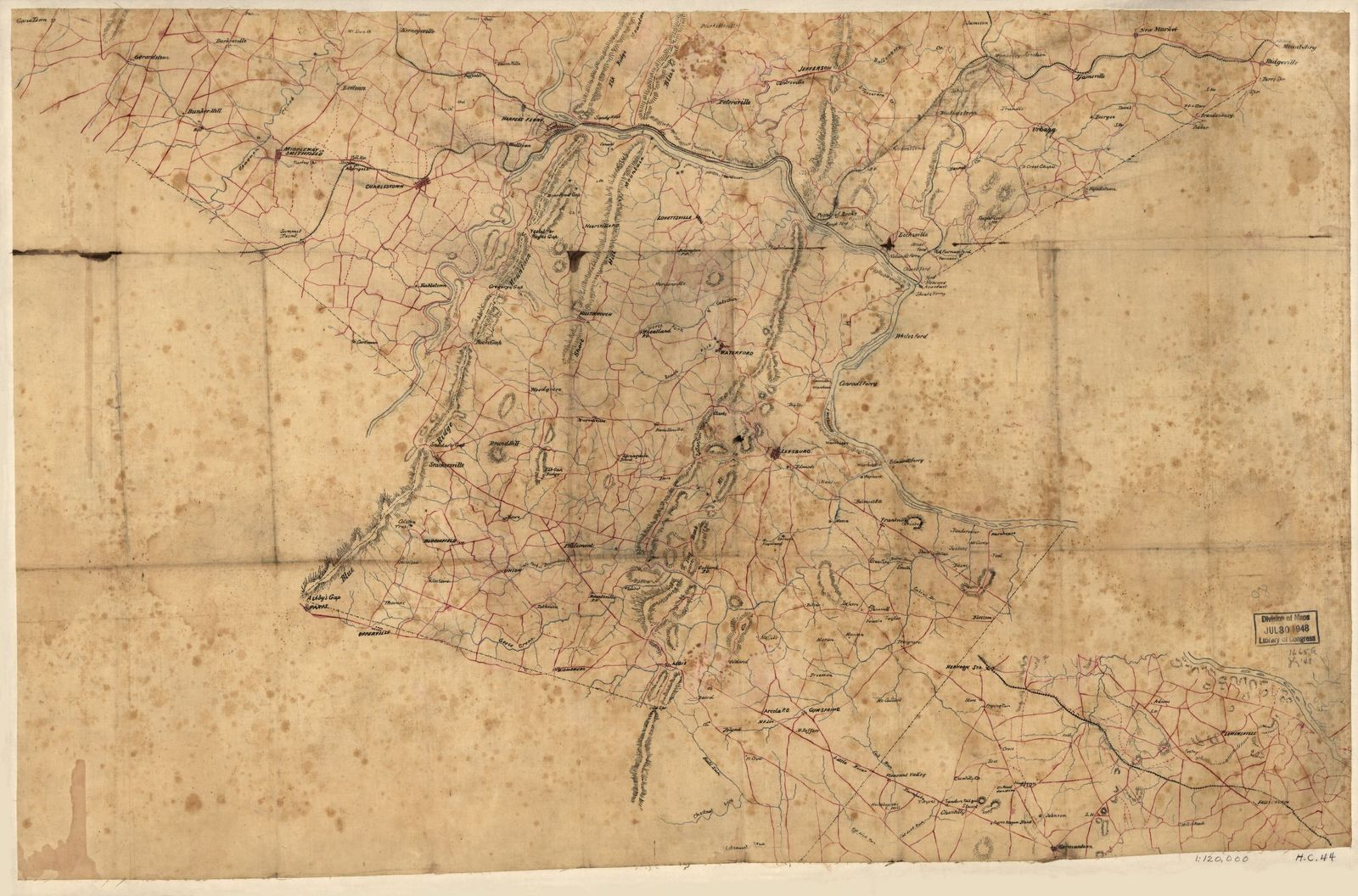 [Map of Loudoun County, Va., and parts of Fairfax County, Va., Jefferson County, W.Va., and Washington and Frederick counties, Md.].