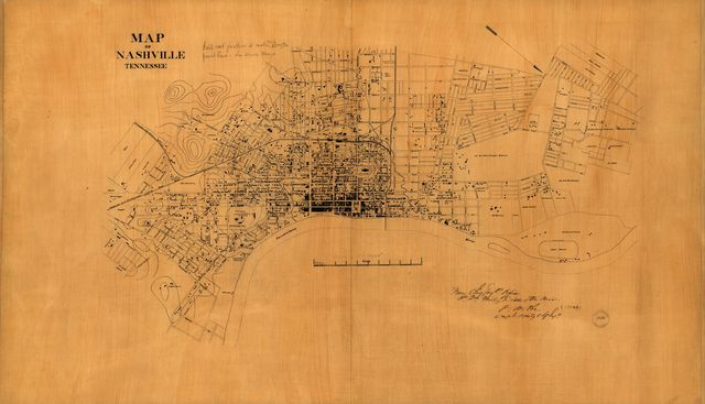 Map of Nashville, Tennessee.