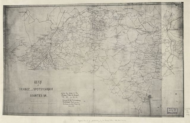 Map of Orange and Spotsylvania counties, Va.