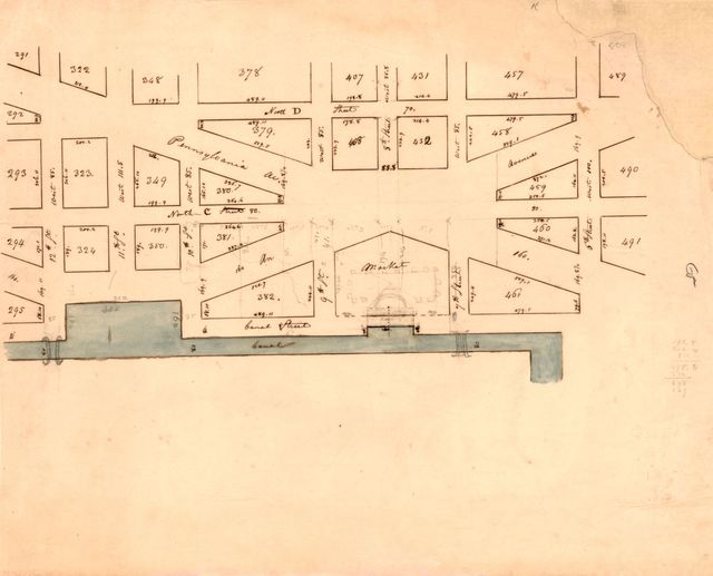 [Map of part of Pennsylvania Avenue and the Washington Canal in the vicinity of the Center Market, N.W. Washington D.C.].