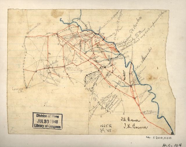 [Map of parts of Orange, Louisa, and Spotsylvania counties, Va.].