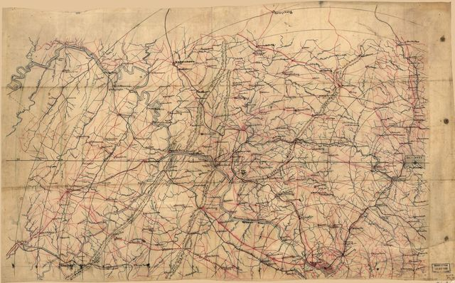 [Map of portions of Virginia and Maryland, extending from Baltimore to Strasburg, and from Washington to Gettysburg, with concentric circles at 5-mile intervals centering on Washington and on Baltimore].