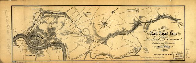 Map of rail road line between Loveland and Cincinnati; Marietta and Cincinnati Rail Road.