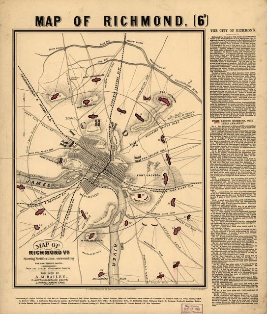 Map of Richmond, Va., shewing fortifications surrounding the Confederate capital. From the latest government surveys.