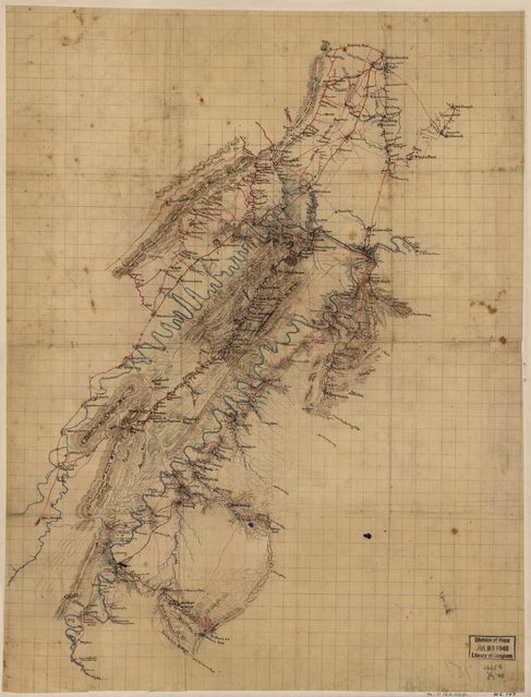 [Map of Shenandoah Valley from Winchester to New Market, Virginia and from Millwood to Waverly P.O., including parts of Frederick, Clarke, Warren, Shenandoah, and Page counties, Virginia].