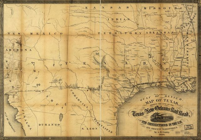 Map of Texas, showing the line of the Texas and New Orleans Rail Road, and its connections in the U.S. and adjacent territories.
