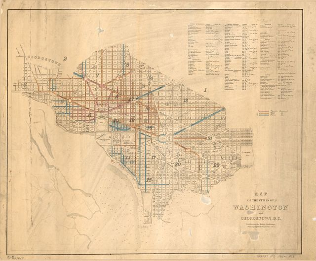 Map of the cities of Washington and Georgetown, D.C. : exhibiting the public buildings, principal hotels, churches, etc.
