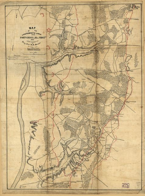 Map of the Confederate lines from Fort Gregg to Mrs. Price's : [Virginia] /
