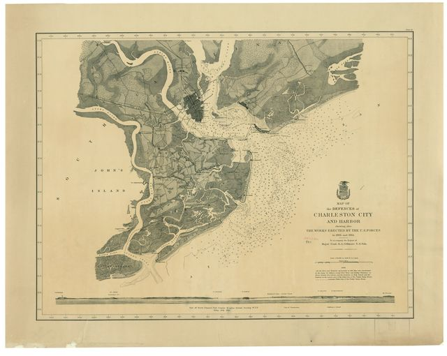 Map of the defences of Charleston city and harbor, showing also the works erected by the U.S. forces in 1863 and 1864 /
