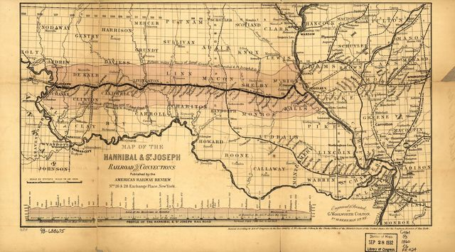 Map of the Hannibal & St. Joseph Railroad and its connections published by the American Railway Review, New York.