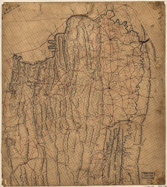 [Map of the northern part of Virginia and West Virginia, between the Blue Ridge and the Alleghany Front, south of the Potomac River and north of New Market].