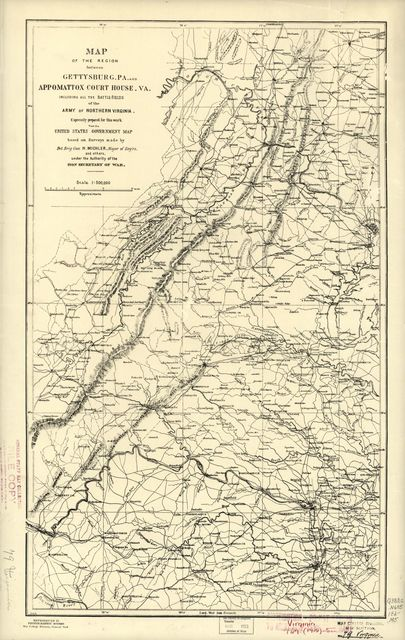 Map of the region between Gettysburg, Pa. and Appomattox court house, Va. : including all the battle-fields [sic] of the Army of Northern Virginia /