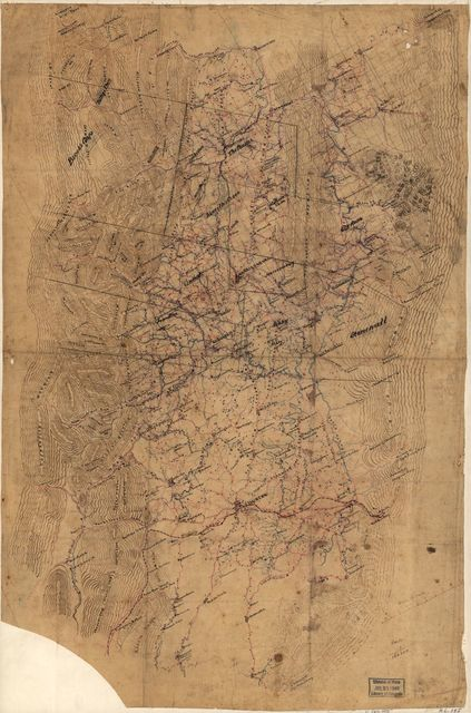 [Map of the Shenandoah Valley from Mt. Jackson to Midway, including parts of Shenandoah, Page, Rockingham, and Augusta counties, Virginia].