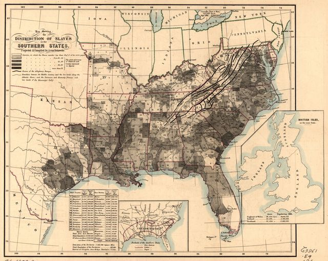 Map showing the distribution of slaves in the Southern States /