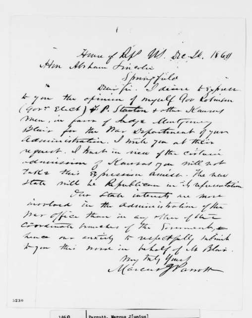 Marcus J. Parrott to Abraham Lincoln, Thursday, December 20, 1860  (Recommends Montgomery Blair for cabinet)