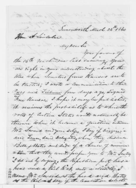 Mark W. Delahay to Abraham Lincoln, Monday, March 26, 1860  (Political speculation)