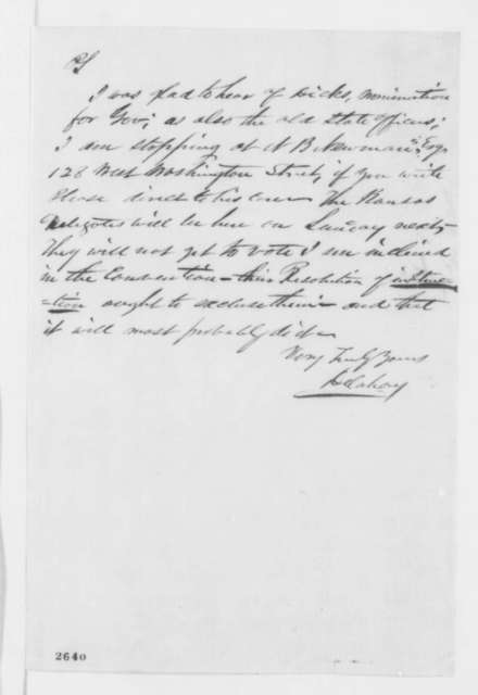 Mark W. Delahay to Abraham Lincoln, Thursday, May 10, 1860  (Chicago convention)