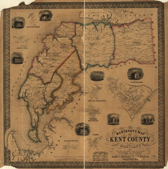 Martenet's map of Kent County, Maryland ; shore lines and soundings from U.S. Coast Survey, roads and inland from actual surveys by C.H. Baker, county surveyor, under the direction, and drawn, and published by Simon J. Martenet.