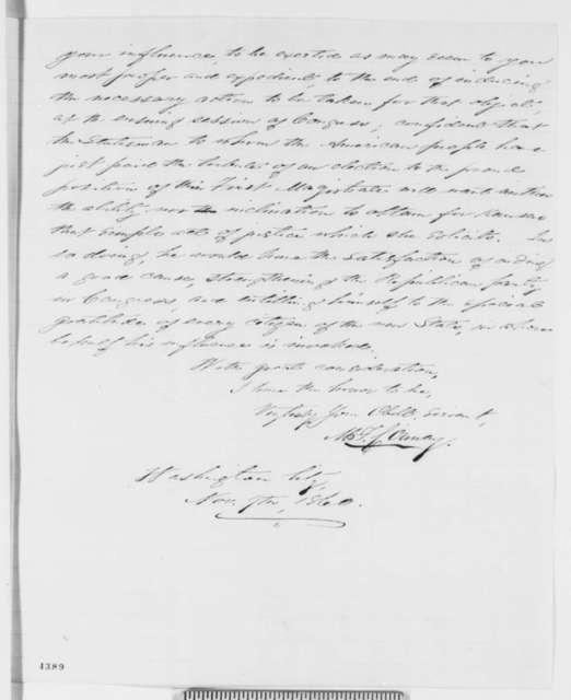 Martin F. Conway to Abraham Lincoln, Friday, November 09, 1860  (Urges statehood for Kansas)