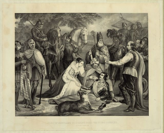 Mary of Scotland mourning over the dying Douglas at the Battle of Langside, 1568 / painted by F. Hartwich.