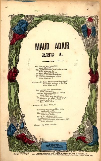 Maud Adair and I. H. De Marsan. Publisher, 38 & 60 Chatham St. N. Y