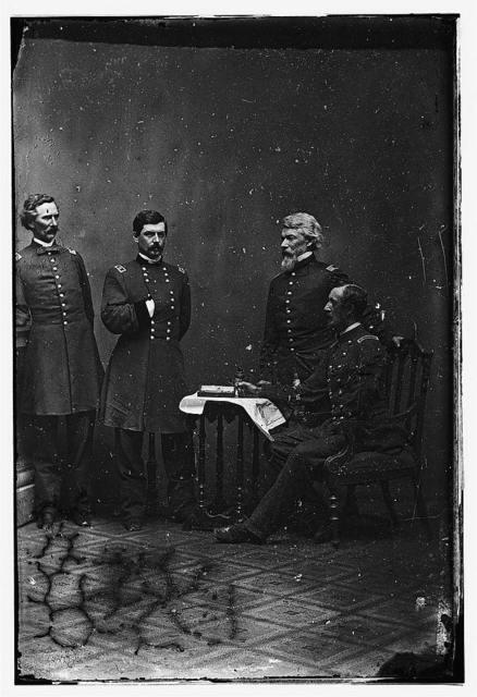 McClellan and staff. L to R: Capt. Clark, Gen. McClellan, Capt. Van Vliet, Maj. Barry