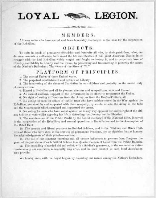 Members: All may unite who have served and been honorably discharged in the war for the suppression of the rebellion. Objects ... Platform of principles ... [n. p. 186-].