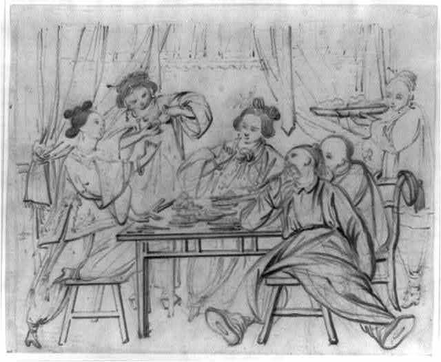 [Men and women sitting around a table in a tearoom, eating and drinking tea]
