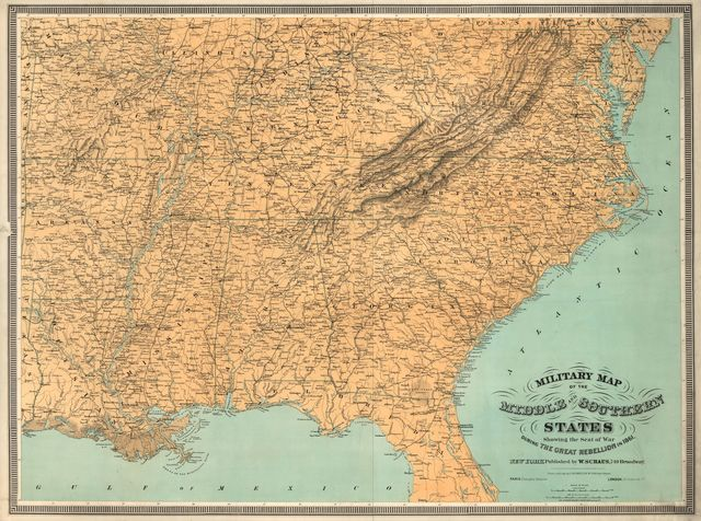 Military map of the middle and southern states showing the seat of war during the great rebellion in 1861