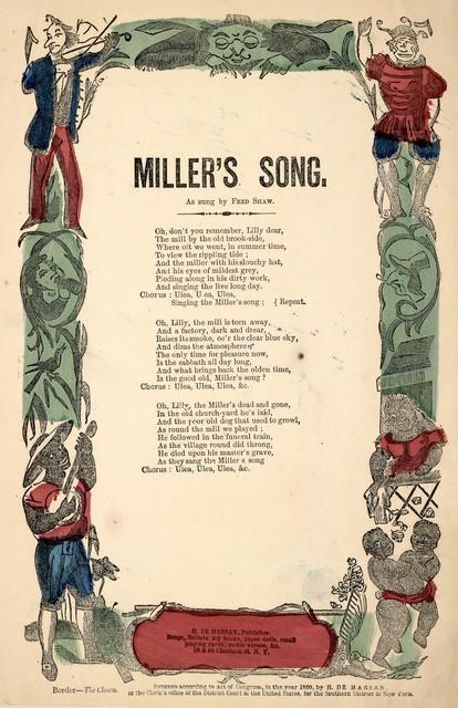 Miller's song. H. De Marsan, Publisher, 38 & 60 Chatham Street, N. Y. [c. 1860]