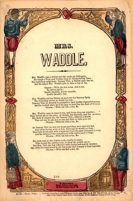 Mrs. Waddle. H. De Marsan, 38 & 60 Chatham Street, Y. Y