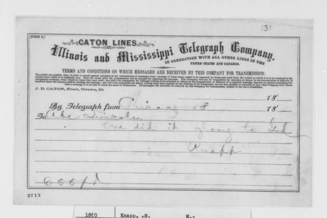 Nathan M. Knapp to Abraham Lincoln, Friday, May 18, 1860  (Telegram; congratulations)
