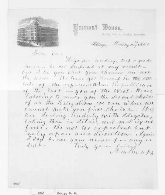 Nathan M. Knapp to Abraham Lincoln, Monday, May 14, 1860  (Chicago convention; with Copy)